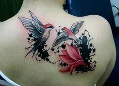 Bird flower ink