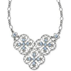 1928 Jewelry - Silver-tone Blue Crystal 16in w/3in ext. Bib Necklace (€24) found on Polyvore featuring women's fashion, jewelry, necklaces, blue crystal jewelry, long blue necklace, blue bib necklace, blue necklace and long necklaces