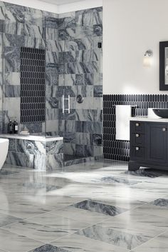 High-gloss tile can help achieve modern style in any space. Dream House Interior, Luxury Homes Dream Houses, Dream Home Design, House Design, Dream Bathrooms, Dream Rooms, Modern Bathrooms, Master Bathrooms, Bathroom Design Luxury