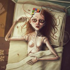 A doll in a human hospital. Plastic brain and bloody wounds. It's all about fear of being hurt. You pretend that you're unable to feel anymore, but in the end of the day you are just a deadbeat dol...