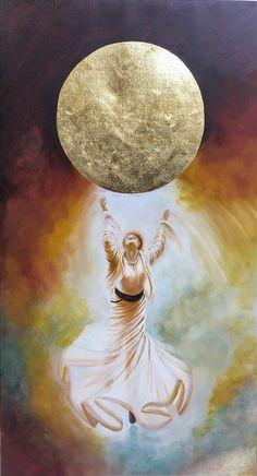 GulCan  Karadağ -  Contact  - 110x60 cm -  oil / gold leaf on canvas