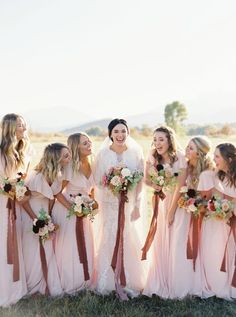 Sunset on the Seine by Claude Monet Inspired This Spring Wedding Editorial's Color Palette Fall Bridesmaid Dresses, Fall Wedding Dresses, Spring Wedding, Bridesmaids, Dusky Pink Weddings, Sunset Wedding, Wedding Flower Inspiration, Wedding Venues, Wedding Ceremony