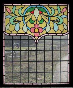AMAZING HUGE ART NOUVEAU BEAUTY STAINED GLASS WINDOW