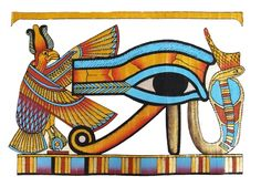 The Eye of Ra depicted with Nekhbet (the vulture) and Wadjet (the cobra).