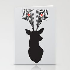 deer head Stationery Cards by Vinspiro - $12.00
