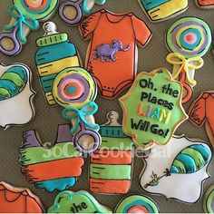 Oh, the places will go!! Adorable baby shower cookies by @socalcookiegal #decoratedcookies #sugarcookies #edibleart #drseuss #book #cookies #royalicing #baby #babyshower #babies #adorable #picoftheday #art #artistic