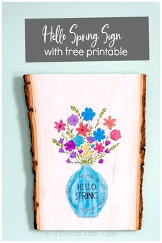 Use this free printable graphic to create a beautiful hello spring wood sign to hang on your door or anywhere in your home. #springdecor #woodsign #hellospring #floralprint