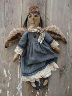 Primitive doll Handmade Folk Art Angel Doll