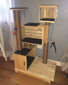 Different Styles of DIY Cat Tree cattreediy cattreediyplans cattreediywood - If you have visited your local pet store to buy a cat tree, you may have noticed that they are all selling old style cat tree that are made of cheap c. Diy Cat Tower, Homemade Cat Tower, Cat House Diy, Diy Hanging Shelves, Cat Towers, Cat Playground, Cat Condo, Cat Tree Condo, Cat Room