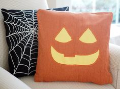 Jack o Lantern Pillow Cover CLARA Pumpkin Cute by BubbleGumDish
