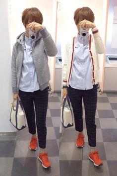 今日はなんとくトラッド。 Outer/Gymphlex. Cardigan/Gymphlex. Bottoms/B-Ming Bag/L.L.Bean Shoes/NB Today is a new balance red favorite.