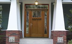 Wow entry! The door is actually fiberglass, so you don't have to put a storm door over it to protect the wood finish.