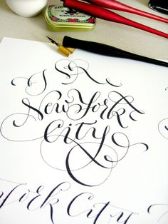 """Calligraphy for """"I love New York City"""" project /working moment/ (by Marina Marjina)"""