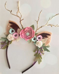 Sophia Embellished Floral Fawn Ears Headband/Deer Headband/Gorgeous Photo Shoot Prop