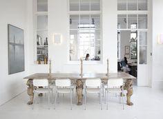 love these interior windows. Decor, Home, Interior Windows, Living Dining Room, Dining Room Chairs, Interior Design, House Interior, Room, Dining Table