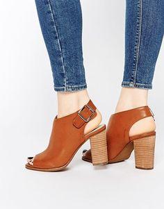 London Rebel Peep Toe Sling Heeled Sandals