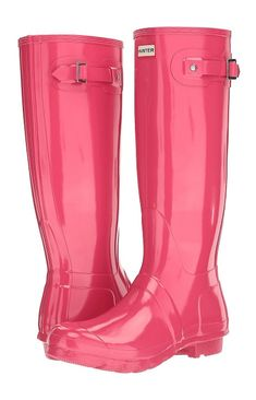 3bc369914603 Pink Hunter Original Tall Gloss Rain Wide Calf Boots - Vulcanized natural  rubber construction with glossy