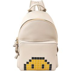 Anya Hindmarch Mini Pixel Smiley backpack ($1,440) ❤ liked on Polyvore featuring bags, backpacks, white, mini bags, day pack backpack, white mini bag, backpack bags and rucksack bags