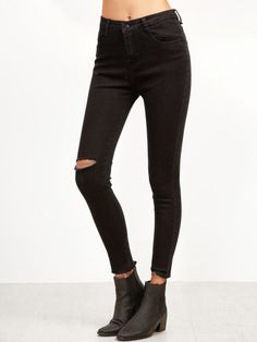 Black Ripped Raw Hem Skinny Jeans