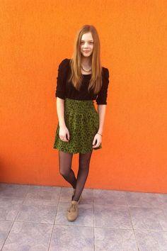 black H&M shirt - green H&M skirt