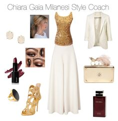 """Chicness... "" by chiaragaia on Polyvore featuring Temperley London, Giuseppe Zanotti, Alexander McQueen, Kendra Scott, Dolce & Gabbana Fragrance, Yossi Harari, chic, gold, white and Elegant"