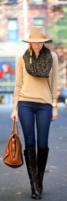 Fall Fashion & nude hat + brown bag + black boots... I'm not crazy about the hat but I like the rest