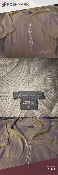 Short sleeve hooded Armani sweater This is a short sleeve hooded zip front Armani sweater purchased from Armani.com. I have not worn it before so I thought I would sell it on here. The Armani and exchange lettering are white and the rest of the sweater is light gray. LOOKS AMAZING Armani Exchange Sweaters