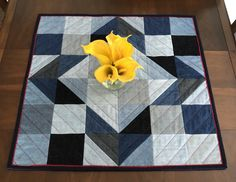"Upcycled Denim Reversible Table Topper, 27.5"" (70cm) Square Wall Quilt, Cottage Chic Table Quilt/Wallhanging, Denim & Homespun Plaid Cotton by FabriArts on Etsy Quilted Table Toppers, Quilted Table Runners, Spiral Pattern, Quilt Batting, Tablerunners, Quilted Wall Hangings, Green Fabric, Cotton Quilts, Quilt Top"