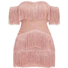 Dusty Pink Bardot Tassel Lace Bodycon Dress ($60) ❤ liked on Polyvore featuring dresses, body conscious dress, bodycon dresses, tassle dress, lace body con dress and tassel dress Bodycon Dresses, dress, clothe, women's fashion, outfit inspiration, pretty clothes, shoes, bags and accessories