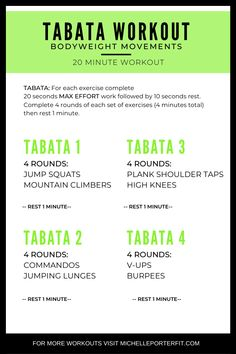 What makes TABATA so special is that they're short but super intense. The work intervals are 20 seconds long and rest intervals are 10 seconds for 8 rounds total. Hiit Workout At Home, 20 Minute Workout, Insanity Workout, Best Cardio Workout, Boxing Workout, At Home Workouts, Hiit Abs, Tabata Workouts Crossfit, Hiit Bodyweight Workout