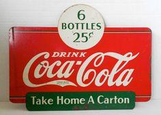 Vintage 1938 DRINK COCA COLA Original Advertising 2 Sided Metal Sign