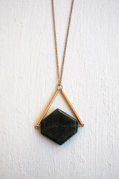 Jasper Hexagon Stone Necklace