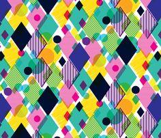 Geo Brights fabric by © Sam Osborne (samossie on Spoonflower) - custom fabric