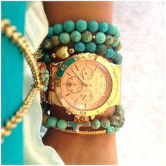 MK,,,Oh. My. God. I ADORE this watch. Anybody that knows me knows that I LOVE me some gold with turquoise!!