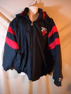 VINTAGE Logo 7 Men's Chicago Bulls Hooded Coat Jacket Parka 2XL Black/Red/White #Logo7 #CoatsJackets