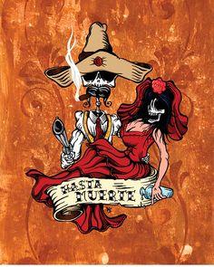 Wild West Art -- Hasta la Muerte by David Lozeau Los Muertos Tattoo, Day Of The Dead Art, Skeleton Art, West Art, Desenho Tattoo, Chicano Art, Arte Horror, Creepy, Dope Art