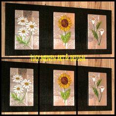 Tríptico de flores en arte repujado, pintura vitral sobre retablo de madera