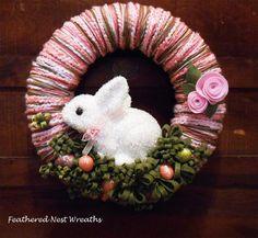 Yarn Easter Wreath, Bunny Wreath, Rabbit Wreath, Easter Eggs, Felt Flowers, Pink, Spring Colors, Handmade, Easter Decor