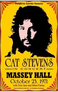 Vintage, retro, hippie, classic rock concert poster - Cat Stevens♥♥♫♫♥♥♫♥J Cat Stevens, Pop Posters, Band Posters, Vintage Concert Posters, Vintage Posters, Poster Cat, Pin Ups Vintage, Vintage Rock, Vintage Cat
