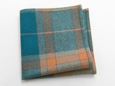 Men's Wool Pocket Square in teal peachand oatmeal by goodsforlife, $20.00