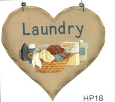 "8x7""  Primitive Rustic Country Wood Heart LAUNDRY ROOM Sign Retro Vintage #Unbranded #countryprimitive"
