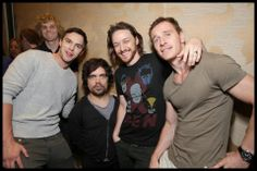 James McAvoy in our X-Men tee! With his X-Men: Days of Future Past cast-mates from L-R: Shawn Ashmore, Nicolas Hoult, Peter Dinklage, (McAvoy) and Michael Fassbender  OldSchoolTees.com In theatres May 2014!