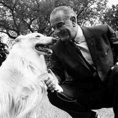 President Lyndon Johnson with his beautiful white collie, Blanco, 1966.