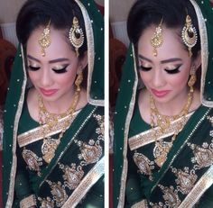 Gold glitter eyes and pink lips. Asian bridal look
