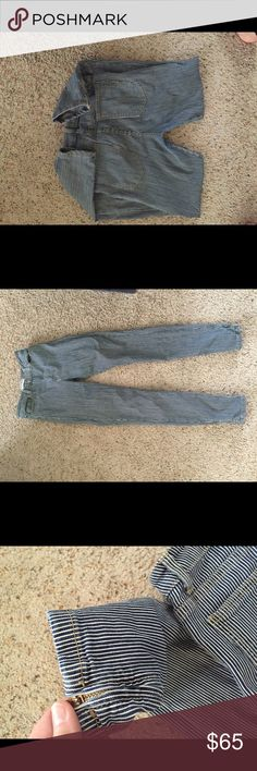 American Apparel striped ankle zip skinny jeans 29 inch inseam. condition as shown and reflected in price. This item is in good condition but it has been worn please ask any questions before purchasing. This item will only be traded for an autographed Authentic Chanel original, a Lamborghini, a penthouse in Paris, or the services of an Audi mechanic. All orders will be recorded before shipping. I do not model. Please see my reasonable offer chart before submitting an offer. American Apparel…