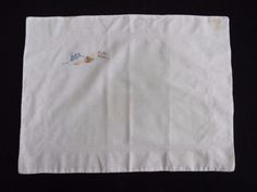 VINTAGE 1930's RABBIT & KITTEN EMBROIDERED COTTON BABY'S PRAM PILLOW COVER SHAMS