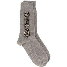Nº21 jewelled socks ($196) ❤ liked on Polyvore featuring intimates, hosiery, socks, grey, grey socks and gray socks