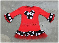 Custom Boutique Red Comfy Knit Black White Jumbo Dot Minnie Mouse Dress on Etsy, $39.99