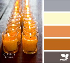 Love the burnt oranges, greys, and the dash of cream. Perfect for a blend of cool, but colorful,