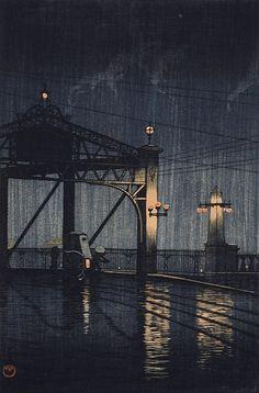 poboh: Night Rain on Shin Ōhashi Bridge, from the series (Twenty views of Tokyo) / 東京二十景 新大橋, Kawase Hasui / 川瀬巴水. Japanese (1883 - 1957)